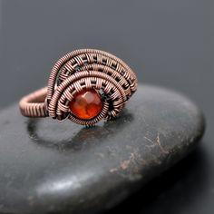 Carnelian Wire Wrap Copper Ring - Nicole Hanna Jewelry