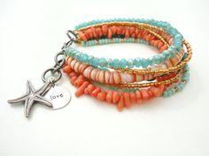 Turquoise Beach Bracelet Friendship Bracelet Beaded Bracelet Starfish Stamped Charm Bracelet Gypsy Bohemian Jewelry Bracelet on Etsy, $69.99