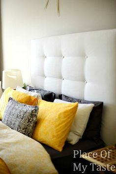 DIY upholstered headboard tutorial… AWESOME! Just need batting, buttons, fabric, staple gun and staples!