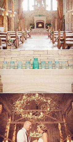 twinkle lights and mason jars wedding decor