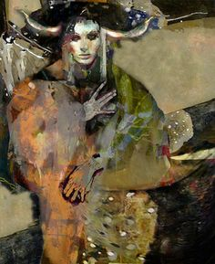 """No Longer Available Saatchi Online Artist Suhair Sibai; Painting, """"The Girl and the Dragon. Painting, """"The Girl and the Dragon. Watercolor Paintings Abstract, Watercolor Artists, Abstract Oil, Mixed Media Painting, Mixed Media Canvas, Selling Art Online, Online Art, Collages, Arabian Art"""