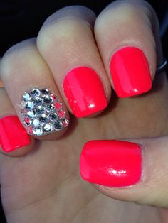 Hot pink acrylic nails with bling. love these bright pretty colors!!