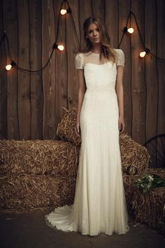 Wedding Dress Designers & Inspiration : Gypsy Heart: The Jenny Packham 2017 Bridal Collection Vintage Style Wedding Dresses, Wedding Dress Trends, Wedding Dress Sleeves, Wedding Gowns, Vintage Dresses, Short Ivory Wedding Dress, Jenny Packham Wedding Dresses, Jenny Packham Bridal, Bridal Dresses