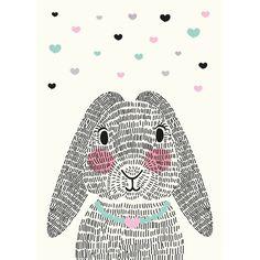 Sparkling Paper kaart mrs Rabbit A6 . Super mooie en vrolijke poster van Sparkling Paper.