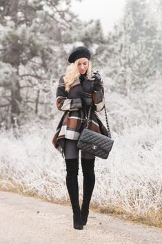 Frosted: Chicwish brown and black plaid wool coat, plaid coat winter outfit, gray denim with black boots, Stuart Weitzman 'Highland' black suede over the knee boots, Chanel Jumbo classic flap bag black caviar with silver hardware, winter outfit with beret hat