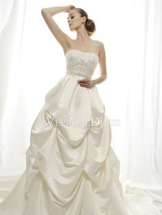 Puffy-Sweetheart-Chapel-Train-Floor-Length-Satin-White-Beading-Zipper-Ball-Gown-Wedding-Dresses