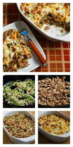 Easy Brown Rice Casserole with Turkey Italian Sausage and Green Bell Pepper (Gluten-Free).  This is easy and delicious for a family dinner. [from KalynsKitchen.com] #HealthyCasserole