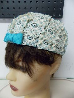 Vintage Crochet Flower and Aqua Tulle Ladies by PfantasticPfinds, $12.99