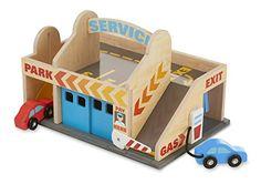 Service Station Drive-Thru Car Wash Parking Garage With 2 Wooden Cars. Melissa & Doug. toys4mykids.com