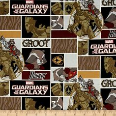Marvel Guardians of the Galaxy Rocket & Groot Multi from @fabricdotcom  Licensed by Marvel to Springs Creative Products, this cotton print is perfect for quilting, apparel and home décor accents. Colors include black, white, rust, burgundy and olive green. This is a licensed fabric and not for commercial use.