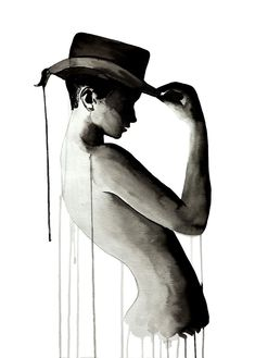 wet media figure drawing illustration nude with top hat on black and white Lemon Design NZ Collage Illustration, Ink Illustrations, Watercolor Illustration, Magazine Collage, Figure Drawing, Mixed Media, Lemon, Nude, Hat