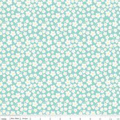 Carina Gardner - Primrose Garden - Primrose Petals in Aqua  Quilt Fabric