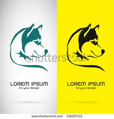 Vector image of a dog siberian husky design on white background and yellow background, Logo, Symbol - stock vector Husky Logo, Dog Logo, Logo Design Trends, Ceramic Design, Yellow Background, Lorem Ipsum, Unique Art, Royalty Free Stock Photos, Logo