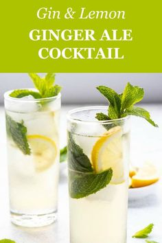 best gin cocktails This easy summer gin cocktail is made with lemon, mint gin, ginger syrup and ginger ale! Alcoholic Drinks With Ginger Ale, Easy Gin Cocktails, Ginger Cocktails, Gin Cocktail Recipes, Spring Cocktails, Cocktail Ideas, Whiskey And Ginger Ale, Ginger Ale Cocktail, Cranberry Ginger Ale