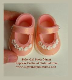 Cutters & Tutorial for Baby Shoe use with fondant gumpaste or polymer clay - cupcake size 50mm
