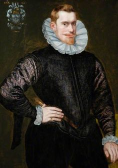 1592 - 'Portrait of a Gentleman' by H. Boss (English painter?). Oil on Panel.  The Bowes Museum, County Durham.