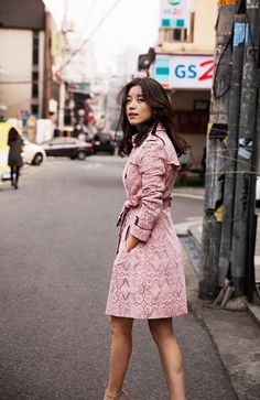 Actress Han Hyo Joo wearing a pink lace Burberry trench coat in Shinsa-Dong for Art Of The Trench Seoul