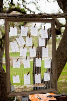 Simple Escort Card Display | Chicken Wire | Rustic | Miranda Laine Photography
