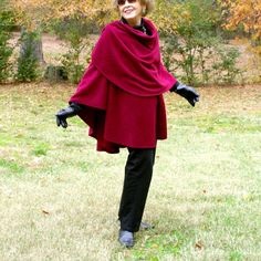 Burgundy Anti Pill Fleece Wrap, Shawl, Shrug, Cape or Blanket Scarf--Lightweight Warmth--One Size Fits Many by YoungbearDesigns on Etsy