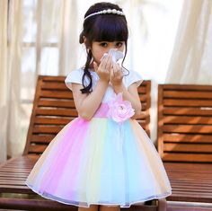 New Spring Girl Rainbow Gauze Leisure Children Clothes Short-sleeve Summer Pony Princess Dress for Kids Bow Sashes Dresses Girls. Baby Princess Dress, Baby Dress, Vestidos Neon, Party Kleidung, Girls Dresses, Flower Girl Dresses, Spring Girl, Wedding With Kids, 1st Birthday Girls