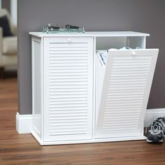 Design Trends® Tilt-Out Cabinet Hamper with Shutter Front and Removable Bags - White