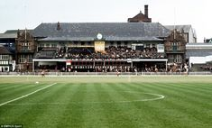 This is a view of the old pavilion at Bramall Lane before a match between Sheffield United and Birmingham in 1971