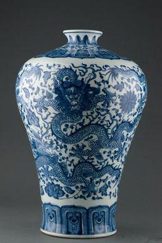 Exquisite Blue & White Dragon Vase w Qianlong Mark
