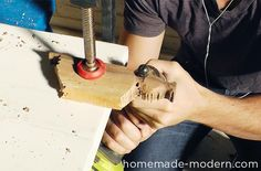 Carving wood with an electric drill