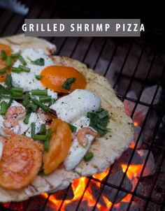 The perfect tailgating recipe. Grilled shrimp pizza.