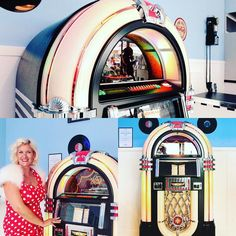 Fabulous fun at #goodwoodrevival! Our Rockola CD Bubbler jukebox looking gorgeous at De Longhi coffee shop.