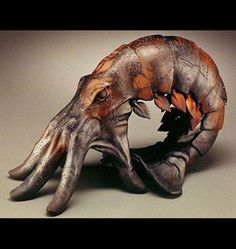 "Beth Cavener Stichter - ""Premonition"" Stoneware with engobes, saggar fired with copper wire flashing surrealism Ceramic Animals, Ceramic Art, Hand Art, Animal Sculptures, Wood Sculpture, Oeuvre D'art, Sculpting, Cool Art, Pottery"