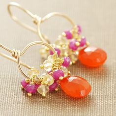 carnelian, pink sapphire and citrine handmade earrings in 14k gold fill.. fruit PUNCH. loves