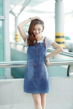 Sleeveless dress, Jumper dress, Denim Dress, Large Pocket, Light Blue Dress, Dark Blue Dress, YRBfashion, Chung, Asian Clothing, Cute Dresse...