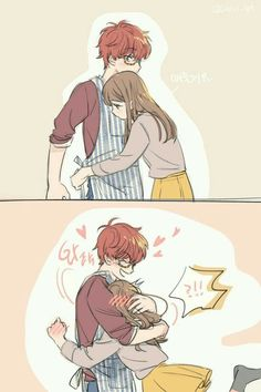 Find images and videos about anime, Mc and mystic messenger on We Heart It - the app to get lost in what you love. Couples Comics, Anime Couples Drawings, Anime Couples Manga, Cute Anime Couples, Mystic Messenger Fanart, Mystic Messenger Characters, Mystic Messenger Memes, Seven Mystic Messenger, Couple Manga