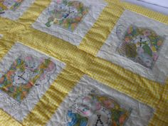 1970s Hand Quilted Baby Blanket  Nursery Rhyme by TheMillersHouse, $42.00