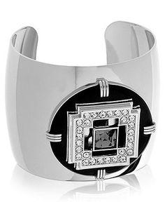 T Tahari Bracelet, Silver-Tone Black Enamel Crystal Cuff Bracelet - Fashion Bracelets - Jewelry & Watches - Macy's