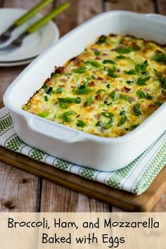 eggs recipes broccoli mushrooms ham and cheddar baked with eggs ...