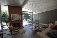 love the paint colors, don't love the art or the furniture   Palo Alto   Eichler   Bathroom and exterior painting - midcentury - living room - san francisco - Keycon, Inc