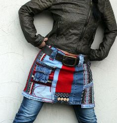 ML mini skirt recycled jeans and sweaters back and door jamfashion, $68.00: