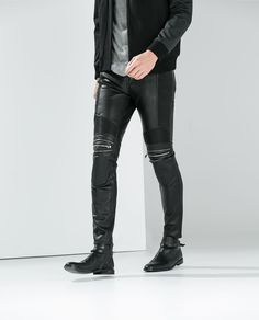 ZARA - MAN - SYNTHETIC LEATHER TROUSERS WITH ZIPS