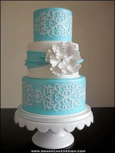 Swank Cake Design, Tiffany Blue w/White Appliqués Beautiful Wedding Cakes, Gorgeous Cakes, Pretty Cakes, Cute Cakes, Amazing Cakes, Wedding Cake Bakery, Cricut Cake, Gateaux Cake, Elegant Cakes