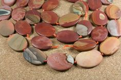 Landscape Ocean Jasper Matte Oval Beads - Smooth Red Green and Tan Beads, 17 inch strand