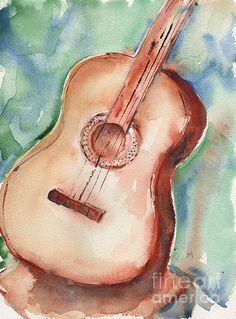 Guitar In Watercolor by Maria's Watercolor