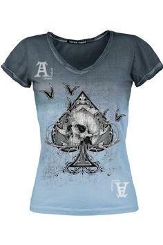 """Classica T-Shirt donna """"Alchemy Ace"""" del brand #AlchemyEngland con scollo a V ed effetto dip/dye. Con orli rifiniti sia sullo scollo che sulle maniche e asso di picche con teschio stampato sul davanti."""
