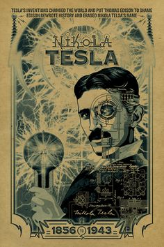 Nikola Tesla poster. 12x18. Inventor. Thomas by UncleGertrudes, $22.00