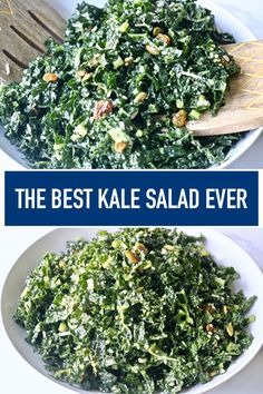 Easy Kale Salad with Lemon Dressing Tangy crunchy full of incredible lemon flavor mixed with the amazing superfood KALE! This recipe is the best one you will find for Kale salad. Source by abeachgirl Gourmet Recipes, Vegetarian Recipes, Cooking Recipes, Healthy Recipes, Vegan Vegetarian, Easy Kale Recipes, Superfood Recipes, Healthy Salads, Recipes Dinner