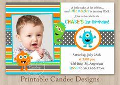 Invite Evans 1st Birthday Pinterest Monsters Birthdays and