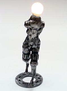 Cyborg Metal sculpture robot and lamp Modern Art Sculpture, Science Fiction Art, Figurative Art, Modern Contemporary, Robot, Sculptures, Etsy Seller, Table Lamp, Spaceship