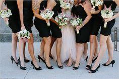 black bridesmaid dresses by Lazaro Noir | CHECK OUT MORE IDEAS AT WEDDINGPINS.NET | #bridesmaids