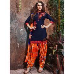 Cotton Machine Work Blue Unstitched Patiala Suit - K2102